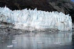 反射在清楚的海洋水中的Margerie冰川在冰河海湾国家公园 免版税库存照片