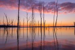 反射在水中的五颜六色的云彩 库存照片