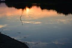 反射在水中的晚上太阳 免版税库存图片