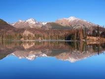 反射在Strbske普莱索,高Tatras 免版税库存照片
