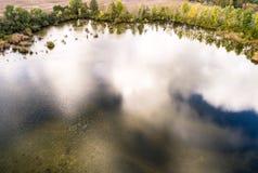 反射的空中照片在湖,在po的树覆盖 免版税库存图片