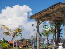 反射绿色游泳场的迪斯科球 免版税库存照片