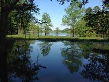 反射蓝色和绿色在水 免版税库存图片