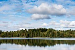 反射9月挪威,森林在有蓝天和棉花糖的一个湖在秋天覆盖 免版税库存图片