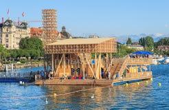 反射Pavillon在湖苏黎世的 图库摄影