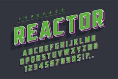 反应器减速火箭的显示字体popart设计,字母表,信件 皇族释放例证