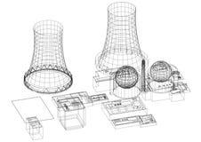 -反应器建筑师图纸-被隔绝的核电站 库存例证