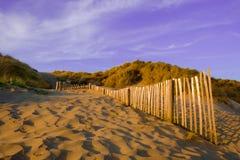 反挠度铺沙海滩沙丘&篱芭 库存照片