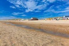 反挠度铺沙海滩英国英国 免版税库存图片