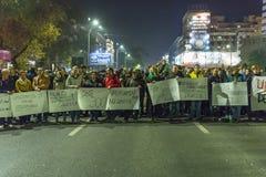 反政府抗议者在布加勒斯特 库存图片