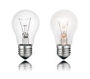 反映二的查出的电灯泡 免版税图库摄影