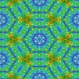 反映样式的花卉青绿的橙黄色 库存例证