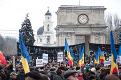 反演示政府摩尔多瓦 免版税库存照片