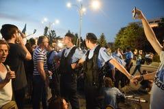 反罗马尼亚` s上面法院抗议,布加勒斯特,罗马尼亚- 5月30日20日 库存照片