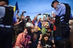 反罗马尼亚` s上面法院抗议,布加勒斯特,罗马尼亚- 5月30日20日 免版税库存图片