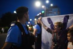 反罗马尼亚` s上面法院抗议,布加勒斯特,罗马尼亚- 5月30日20日 图库摄影