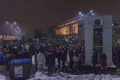 反腐败在2017年1月22日的布加勒斯特抗议 免版税库存照片