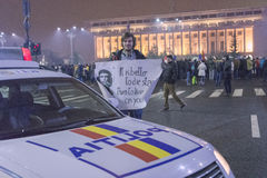 反腐败在2017年1月22日的布加勒斯特抗议 库存图片