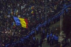 反腐败抗议在布加勒斯特 免版税库存图片