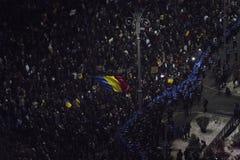 反腐败抗议在布加勒斯特 免版税库存照片