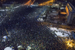 反腐败抗议在布加勒斯特 库存照片