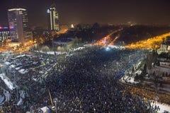 反腐败抗议在布加勒斯特 图库摄影