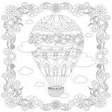 反重音摘要气球,云彩,方形的开花的框架 免版税库存图片