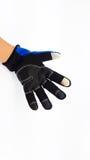 反滑动触摸屏蓝色和黑手套为冬天 免版税图库摄影