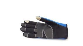 反滑动触摸屏蓝色和黑手套为冬天 库存照片