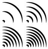 发信号形状,普通四分之一圈子,弯的线与differen 库存图片