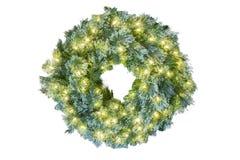 发光与白光的蓝色云杉的圣诞节假日花圈 库存照片