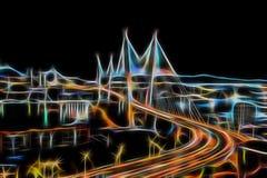 发光与霓虹灯的抽象夜城市风景 免版税库存照片