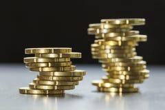 发光二十枚欧分硬币 库存图片