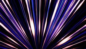 发光从一点的美好的平直的光芒在黑背景 平直的蓝色和紫色线的抽象动画 皇族释放例证