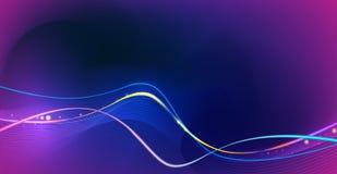 发光例证的摘要,霓虹灯作用,波浪线,波浪样式 传染媒介设计在蓝色背景的通信techno 向量例证