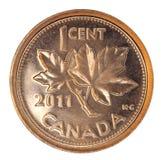 发光加拿大分的硬币一 库存照片