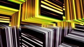 发光包括的移动的立方体模型抽象背景霓虹线,无缝的圈 o 五颜六色的一半和 向量例证