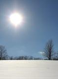 发光在一个多雪的领域的明亮的太阳 免版税库存照片