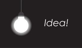 发光在与拷贝空间的黑背景的垂悬的电灯泡 库存例证