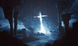 发光在外籍人世界的十字架 图库摄影