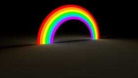 发光在暗色光的彩虹弧 库存照片
