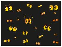 发光在黑暗的黄色猫眼传染媒介 免版税图库摄影