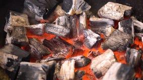 发光在bbq格栅坑的热的火焰状木炭冰砖TView  烹调的烤肉食物灼烧的煤炭 关闭 免版税库存图片