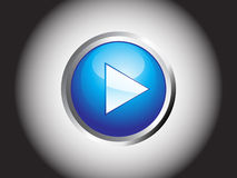 发光抽象蓝色按钮的作用 库存照片