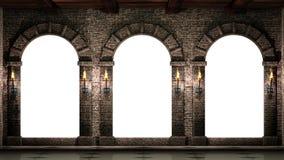 发光火炬的曲拱 库存照片