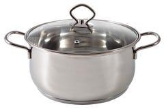 发光的不锈钢汤罐,被盖盒盖透明玻璃 免版税库存图片
