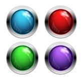 发光的传染媒介按钮 免版税库存图片