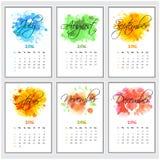 发光的六个月新年快乐的日历 免版税图库摄影