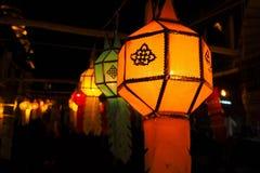 发光的兰纳灯笼在晚上,工艺为庆祝在北的节日泰国 图库摄影