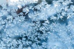 发光的冬天窗冰装饰 免版税图库摄影